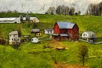 Red Barn in Spring Green Field