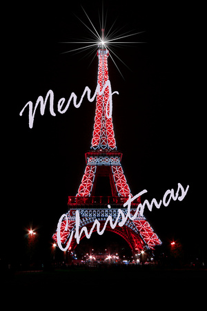 Light Writer Images | Christmas cards | Lighted Eiffel Tower christmas